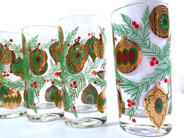 Culver Signed Mid-Century Christmas Tree with Bird and Ornament Highball Glasses (Set of 6)