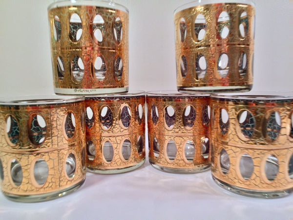 Culver - Signed Mid-Century Pisa 22-Karat Gold Low-Ball Rock Glasses (Set of 6)