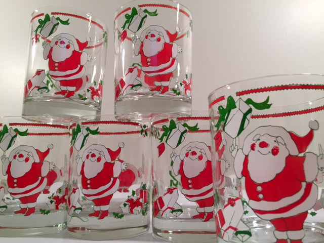 Georges Briard Signed Mid-Century Santa and Present Glasses (Set of 6)