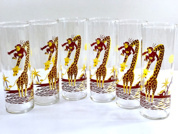 Federal Glass Mid-Century Monkey and Giraffe Tall Collins Glasses (Set of 6)