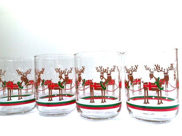 Libbey Christmas Reindeer Double Old Fashion Glasses (Set of 4)