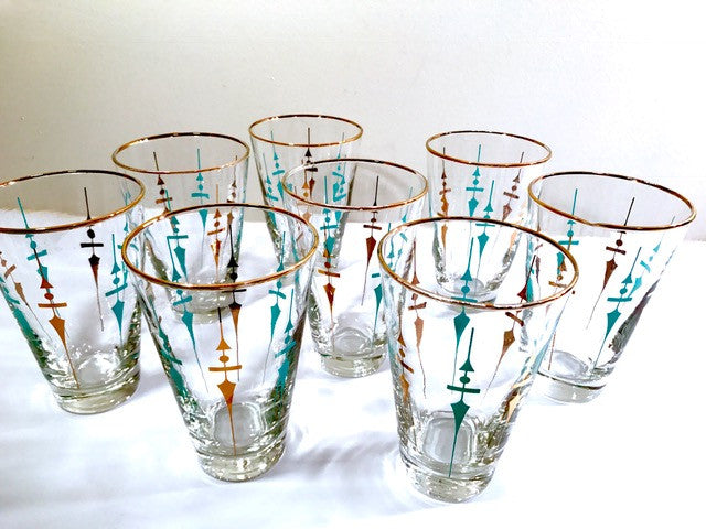 Libbey Mid-Century Compass Glasses (Set of 8)