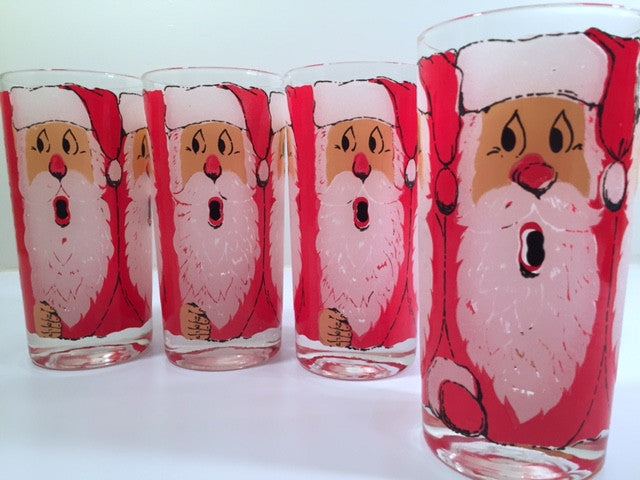 Vintage Santa Glasses (Set of 4)