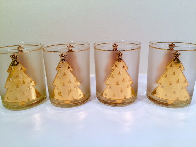 Culver Signed Mid-Century Lord and Taylor 22-Karat Gold Christmas Tree Double Old Fashion Glasses (Set of 4)