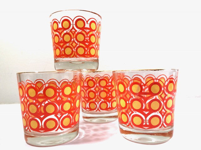 Colony Groovy Retro Orange & Yellow Circle Old Fashion Glasses (Set of 4)