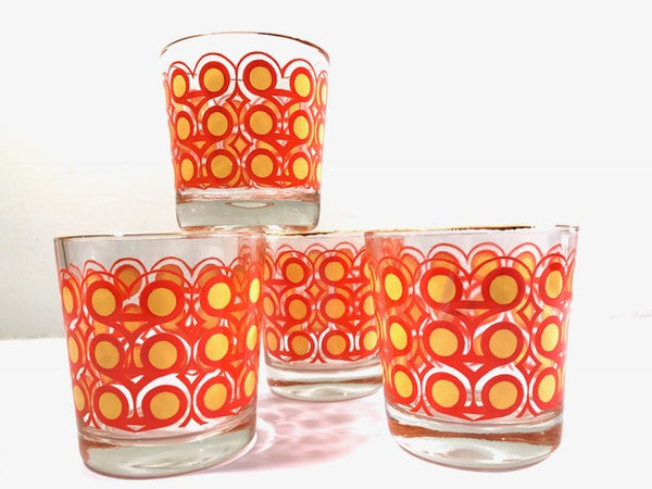 Colony Frolic Groovy Retro Orange & Yellow Circle Old Fashion Glasses (Set of 4)