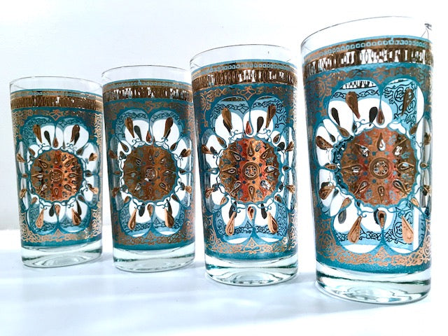 Georges Briard Mid-Century Turquoise and 22-Karat Gold Highball Glasses (Set of 4)