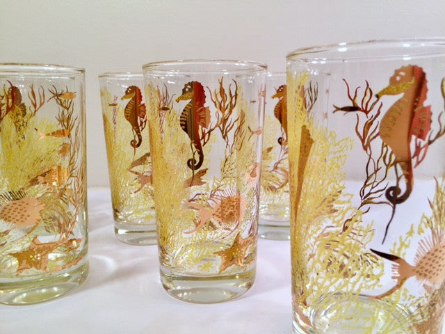 Bartlett Collins - Mid-Century Under the Sea 22-Karat Gold Glasses (Set of 8)