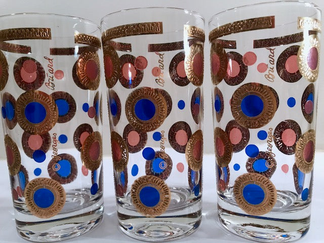 Georges Briard Signed Mid-Century 22-Karat Gold and Colorful Circle Glasses (Set of 6)