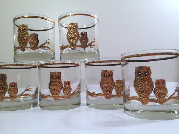 Culver - Signed 22-Karat Gold Retro Owl Old Fashion Glasses (Set of 6)