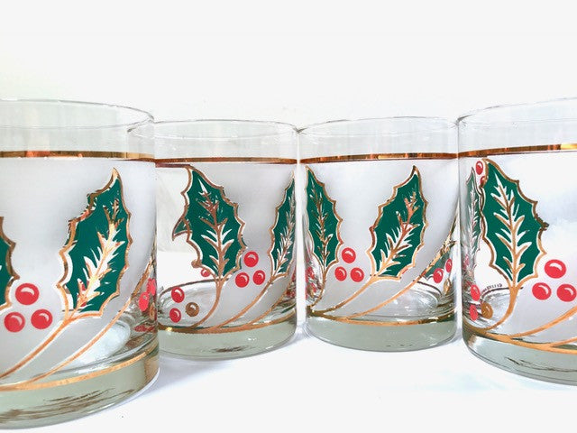Culver Signed Mid-Century Holly Leaf Double Old Fashion Glasses (Set of 4)