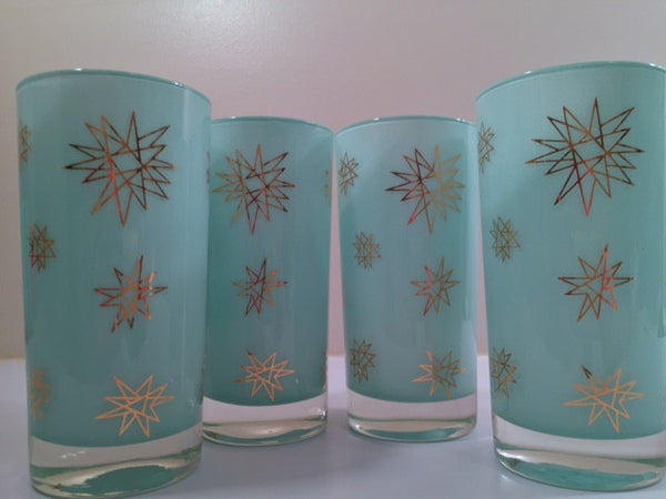 Federal Glass Mid-Century Blue Atomic & 22-Karat Gold Star Glasses (Set of 4)