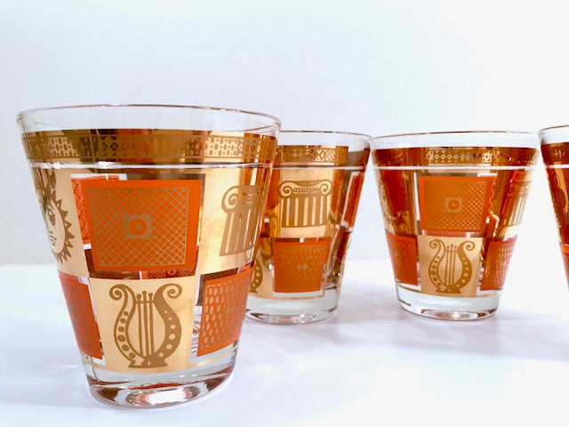 Georges Briard - Signed 22-Karat Gold and Orange Golden Celeste Double Old Fashion Glasses (Set of 4)