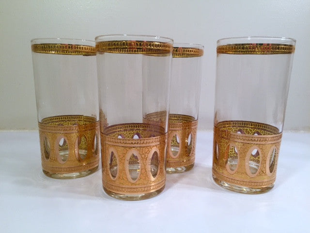Culver Signed Antigua Mid-Century 22-Karat Gold Highball Glasses (Set of 4)