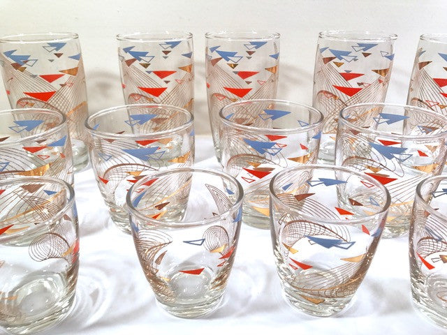 Mid-Century Atomic 18-Piece Bar Set