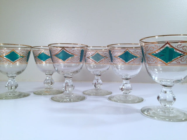 Libbey Mid-Century Emerald & 22-Karat Gold Cordial-Sorbet Glasses (Set of 6)