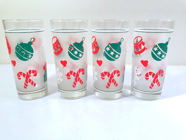 Culver Signed Mid-Century Frosted Christmas Glasses (Set of 4)