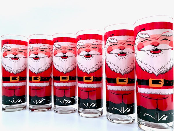 Georges Briard Signed Vintage Santa Glasses (Set of 6)