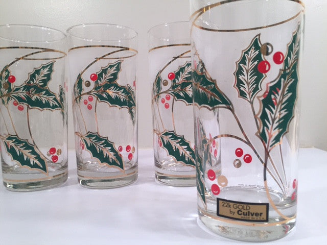 Culver Signed Mid-Century Holly Leaf Glasses (Set of 4 with Original Box)