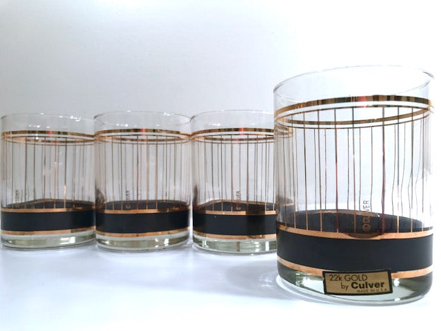 Culver Signed Mid-Century Black and 22-Karat Gold Devon Double Old Fashion Glasses (Set of 4)