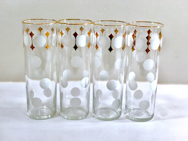 Libbey Mid-Century Polka Dot Tall Collins Glasses (Set of 4)