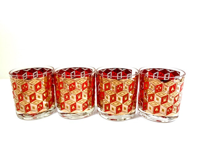 Georges Briard Signed Mid-Century Roll the Dice Glasses (Set of 4)