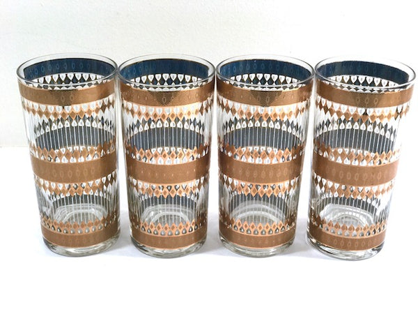 Culver Signed Mid-Century Barcelona 22-Karat Gold Highball Glasses (Set of 4)