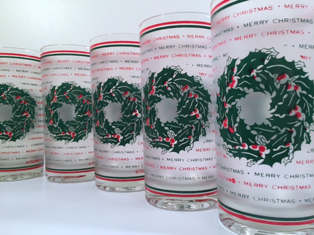 Culver Signed Mid-Century Merry Christmas Wreath Glasses (Set of 7)