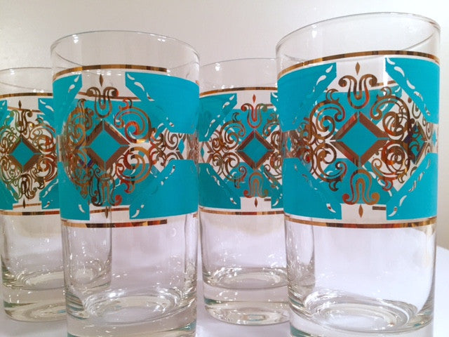 Libbey Mid-Century Turquoise and 22-Karat Gold Highball Glasses (Set of 8)