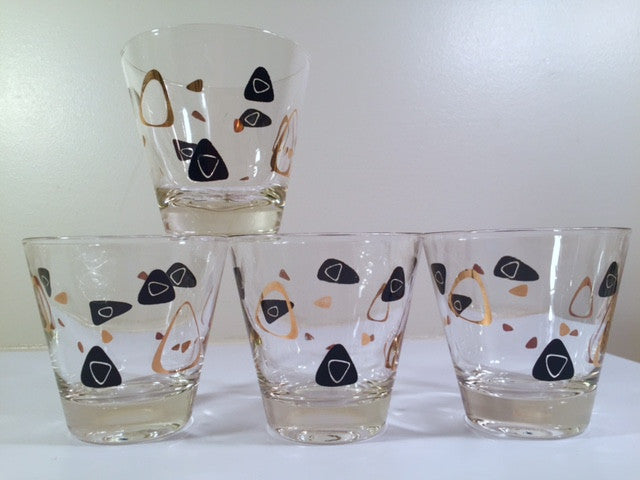 Federal Glass Mid-Century Black and 22-Karat Gold Amoeba Boomerang Glasses (Set of 4)