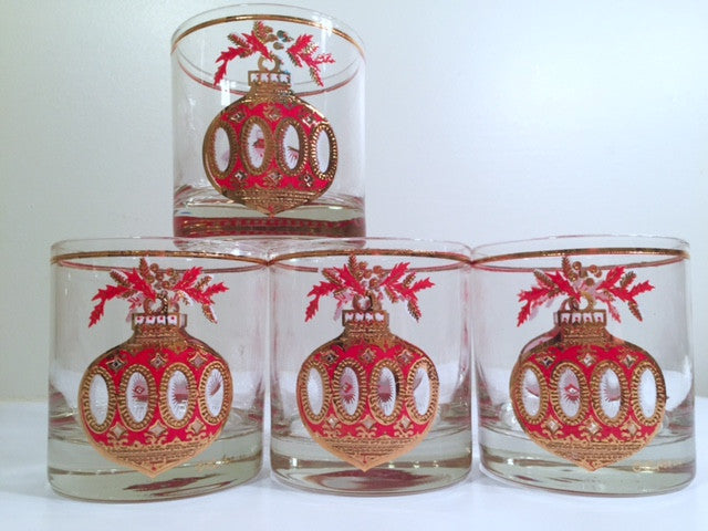 Culver Signed Mid-Century Christmas Ornament Glasses (Set of 4)