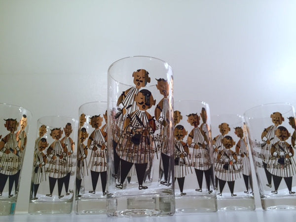 Gay Fad Signed Mid-Century Barbershop Quartet Glasses (Set of 8)
