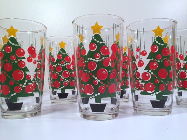 Hazel Atlas Mid-Century Gay Glasses Retro Christmas Trees (Set of 8 With Original Box)