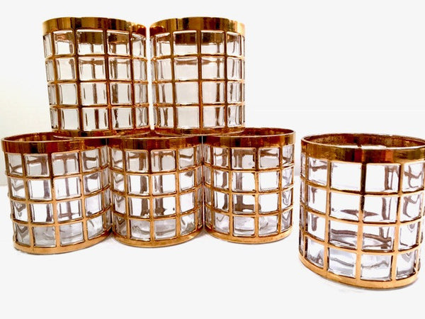 Imperial Glass Company – Tori De Oro 22-Karat Gold Mid-Century Glasses (Set of 6)