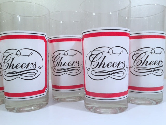 Georges Briard Signed Mid-Century Cheers Vintage Christmas Highball Glasses (Set of 6)
