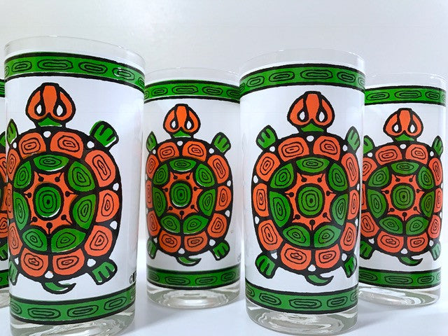 Cera Glass Signed Vintage Sea Turtle Glasses (Set of 6)