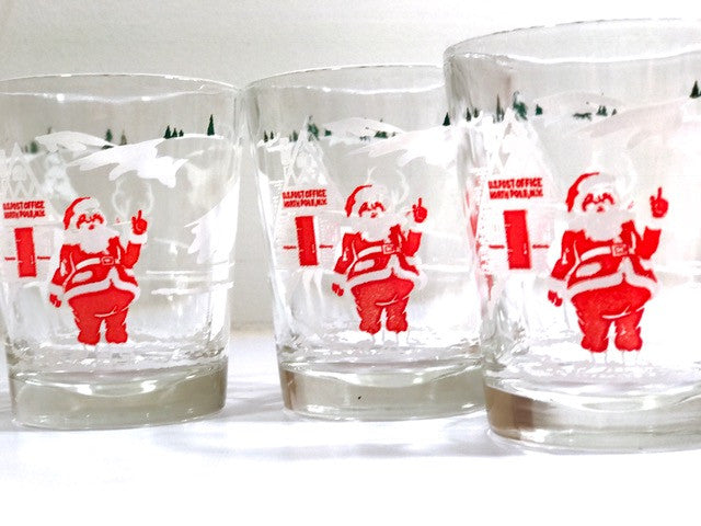 Hazel Atlas Mid-Century Santa and Rudolph at the North Pole Double Whiskey Glasses (Set of 5)