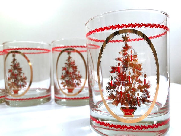 Otagiri Signed Mid-Century Christmas Tree Double Old Fashion Glasses (Set of 4)