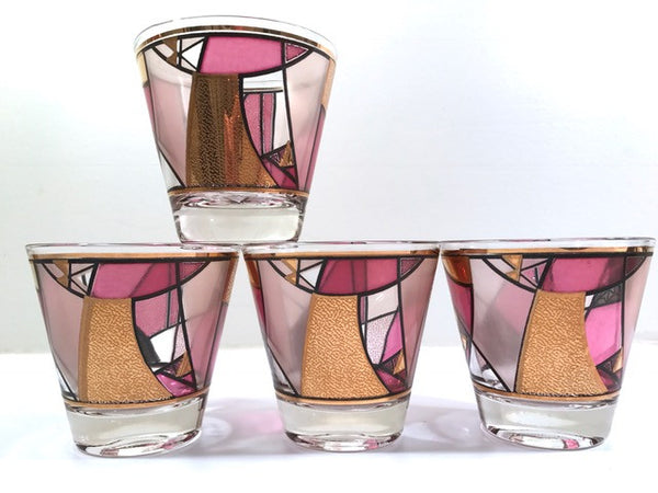 Ned Harris Signed Mid-Century Pink and Purple Abstract Old Fashion Glasses (Set of 4)