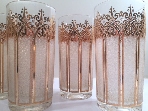 Pasinski Signed Mid-Century 22-Karat Gold and Frosted Highball Glasses (Set of 6)