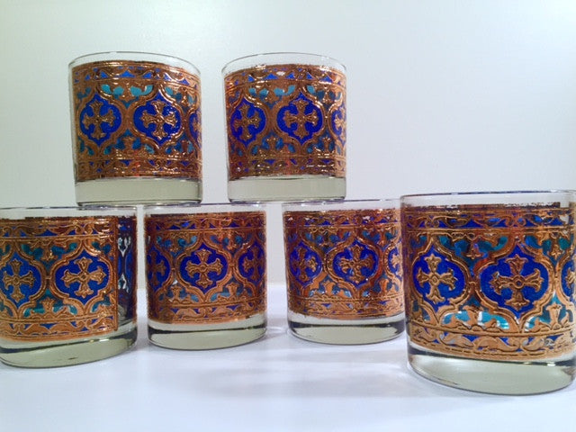Georges Briard Signed Mid-Century Firenza Blue & 22-Karat Gold Italian Renaissance Cross Lowball Glasses (Set of 6)
