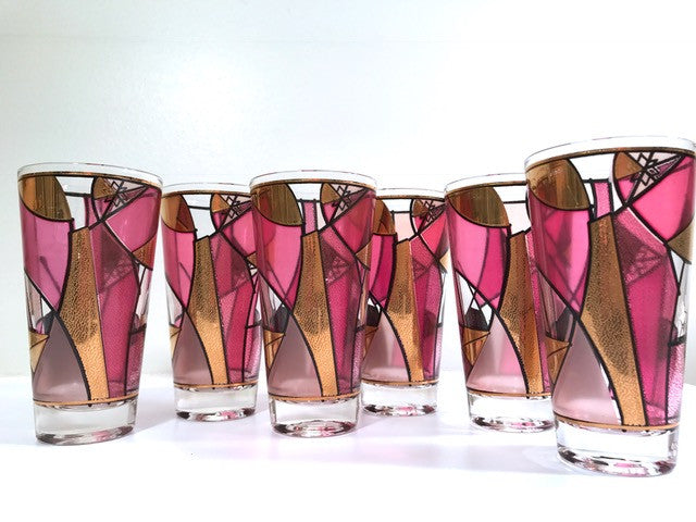Ned Harris Signed Mid-Century Pink and Purple Abstract Glasses (Set of 6)
