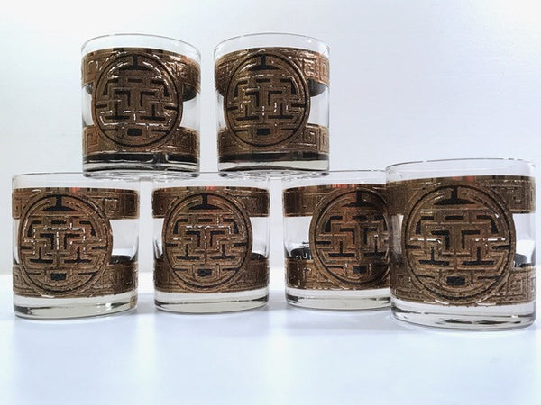 Pasinski Signed Mid-Century Medieval Asian Key Design Old Fashion Glasses (Set of 6)