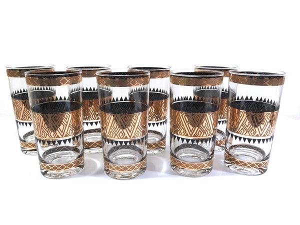 Culver Signed Mid-Century 22-Karat Gold Samoa Glasses (Set of 8)