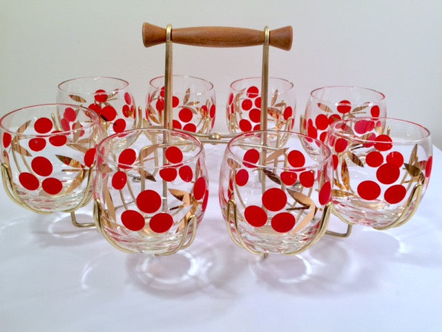 Federal Glass Mid-Century Cherry Roly Poly Glasses with Carrier (8 Glasses and Carrier)