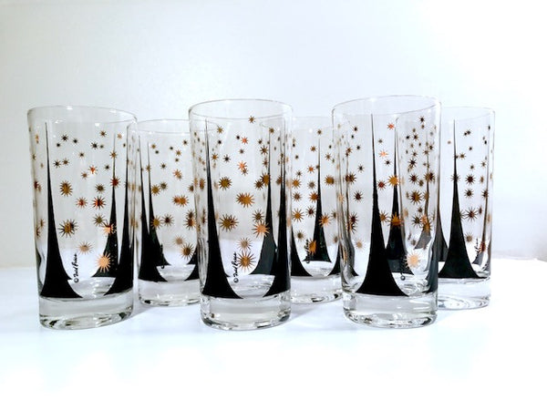 Fred Press Signed Mid-Century Black and 22-Karat Gold Atomic Triangles and Starburst Glasses (Set of 6)