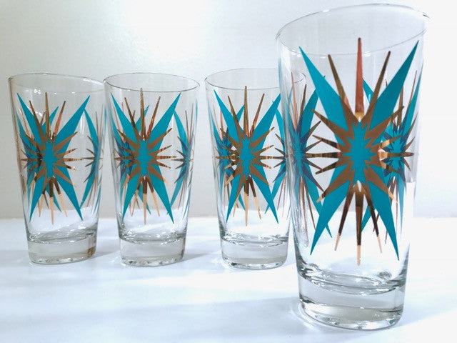 Federal Glass Mid-Century Atomic Turquoise and 22-Karat Gold Starburst Glasses (Set of 4)