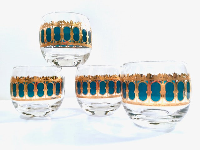 Culver Signed Mid-Century Emerald Azure Scroll Roly Poly Glasses (Set of 4)