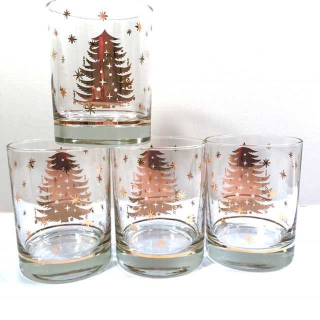 Georges Briard Signed Golden Christmas Tree Double Old Fashion Glasses (Set of 4)