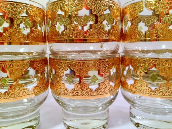 Culver Signed Mid-Century Valencia Green & 22-Karat Gold Whiskey Double Shot Glasses (Set of 6)